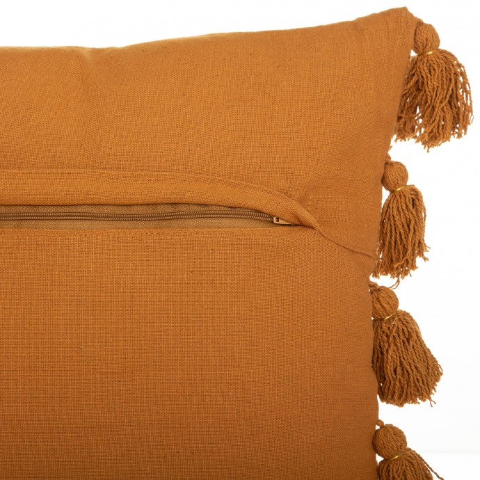 Coussin gypsy avec pompons (Ocre)