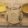 Set de table en jute et spirale dorée (Beige)