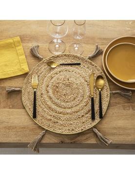 Set de table en jute et spirale dorée