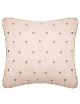 Coussin en gaze de coton motifs cœurs