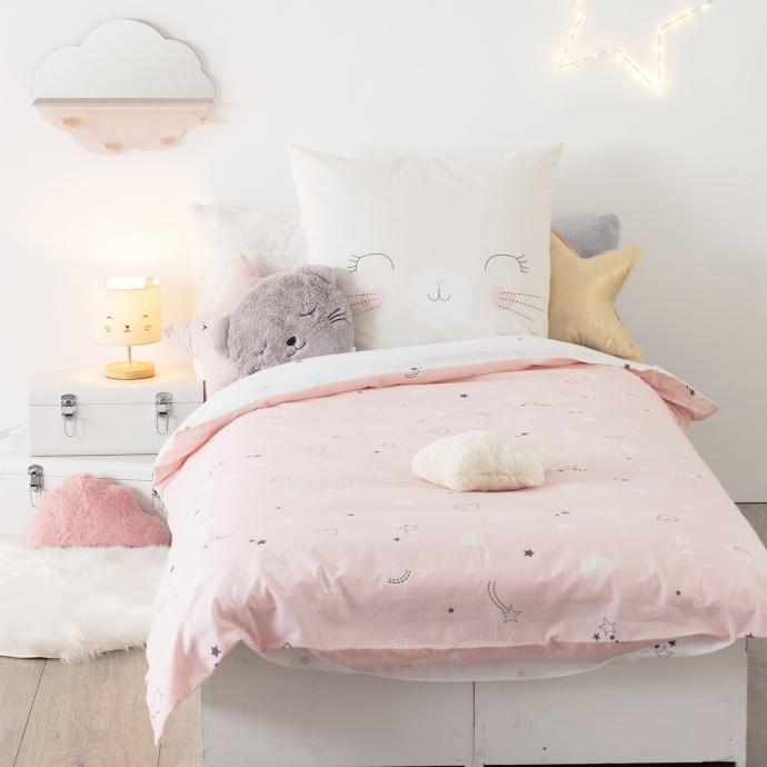 Parure de lit réversible imprimé chat (Rose)