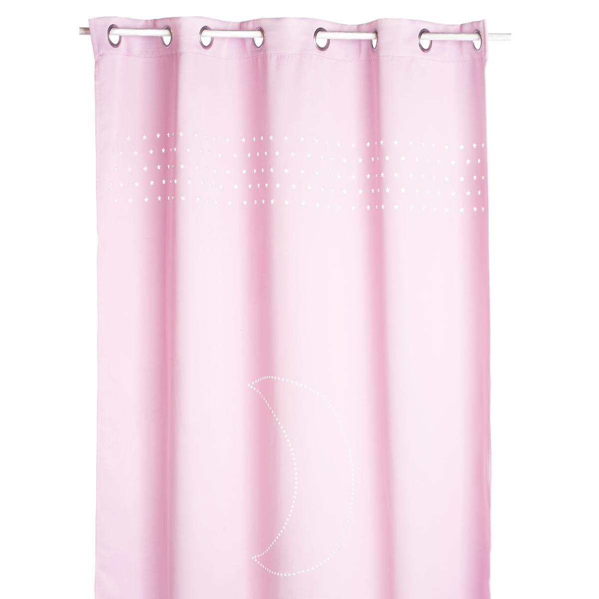 rideau lune et petites etoiles rose gris. Black Bedroom Furniture Sets. Home Design Ideas