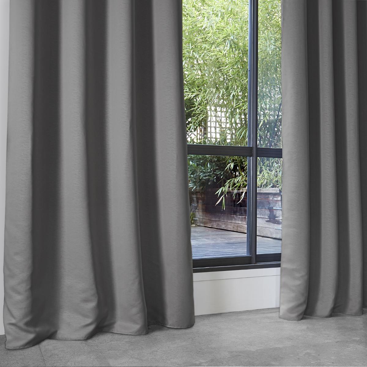 Rideau Occultant Uni en Polyester (Gris)