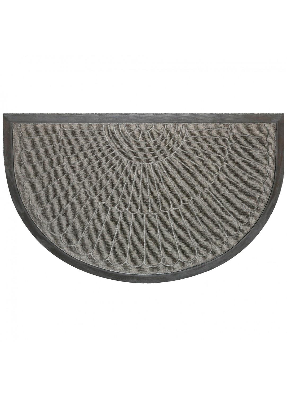 Tapis d entr e demi lune reliefs en polypropyl ne gris noir naturel homemaison - Tapis d exterieur en polypropylene ...