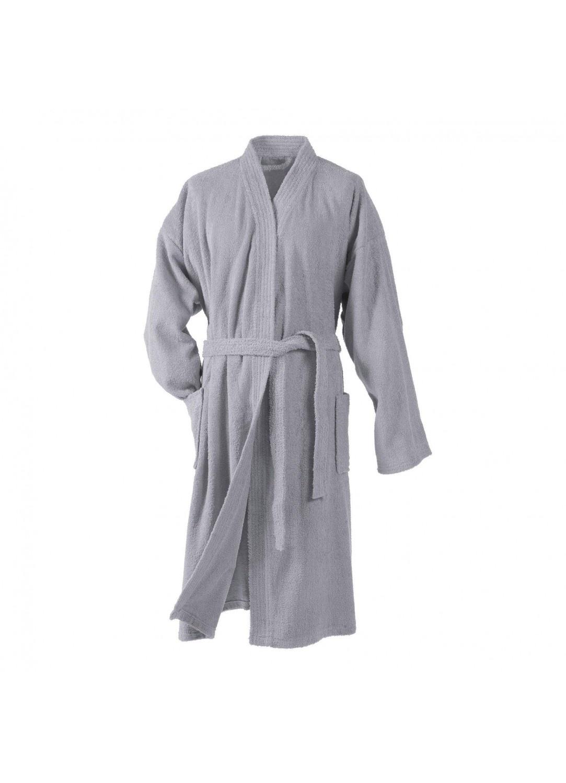 Peignoir Uni Col Kimono en Eponge (Gris)