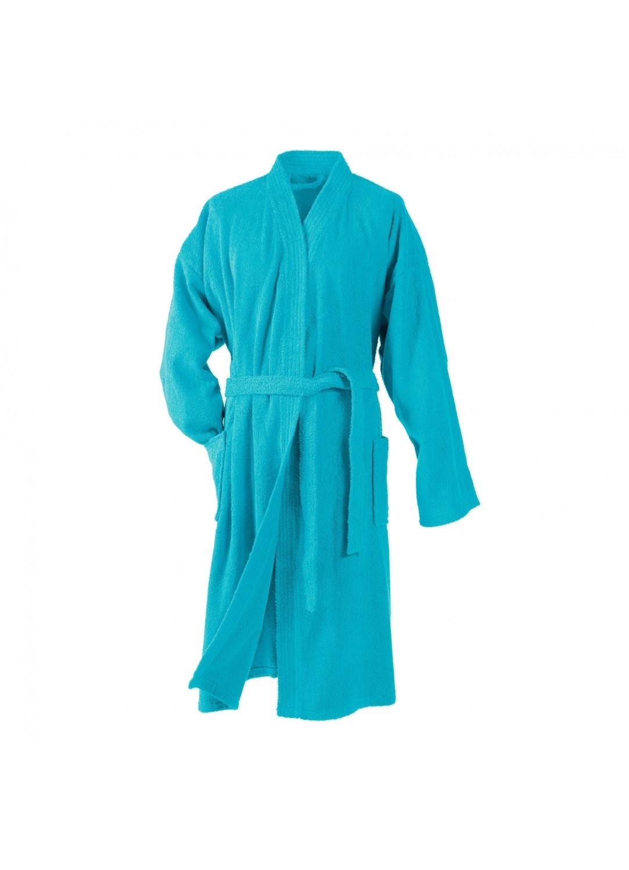 Peignoir Uni Col Kimono en Eponge (Turquoise)