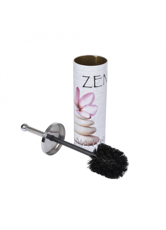 Pot et Brosse en Métal à Motifs Zen (Rose)
