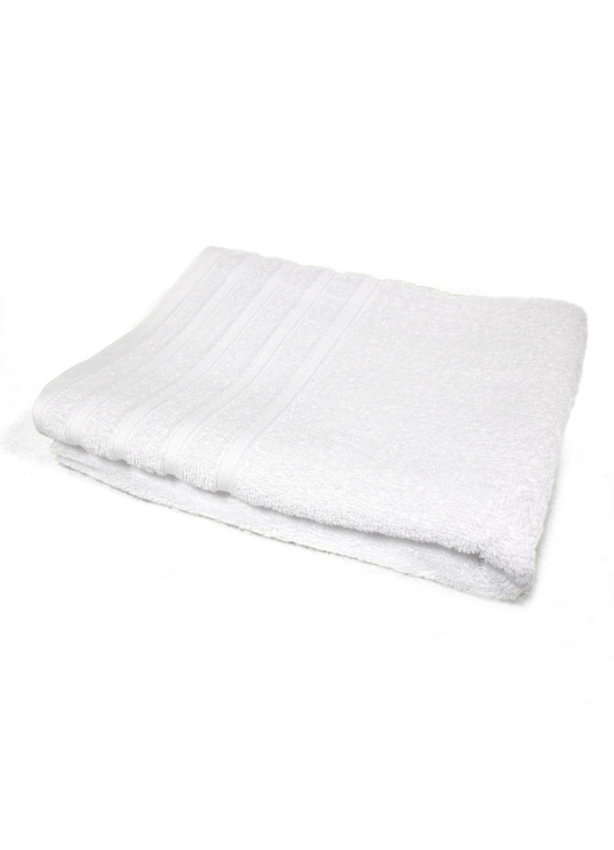 Serviette de Toilette 50x90 cm Unie en Eponge (Blanc)