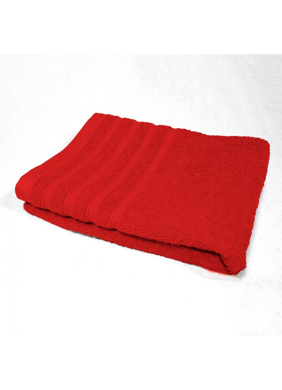 Serviette de Toilette 50x90 cm Unie en Eponge (Rouge)