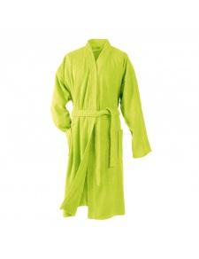 Peignoir Uni Col Kimono en Eponge (Anis)