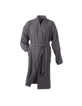 Peignoir Uni Col Kimono en Eponge (Anthracite)