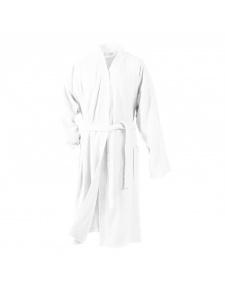 Peignoir Uni Col Kimono en Eponge (Blanc)