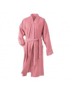 Peignoir Uni Col Kimono en Eponge (Dragée)