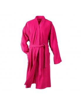 Peignoir Uni Col Kimono en Eponge (Fuchsia)