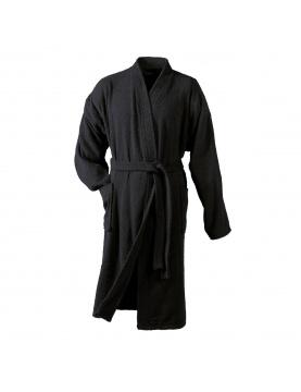 Peignoir Uni Col Kimono en Eponge (Noir)