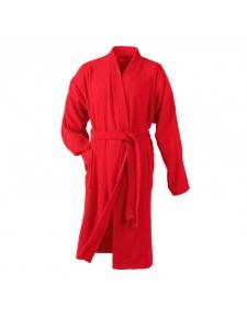 Peignoir Uni Col Kimono en Eponge (Rouge)