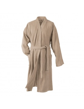 Peignoir Uni Col Kimono en Eponge (Taupe)