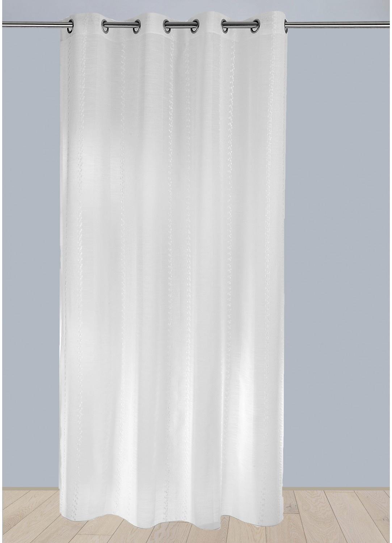 Voilage en Etamine à Rayures Verticales Lumineuses (Blanc)