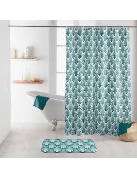 Rideau de douche à motifs géométriques