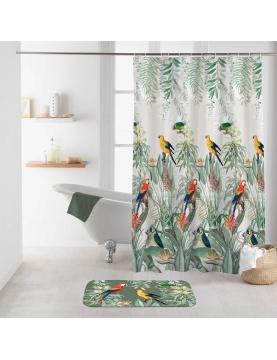 Rideau de douche imprimé oiseaux exotiques