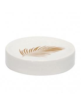 Porte savon en céramique aux feuilles dorées