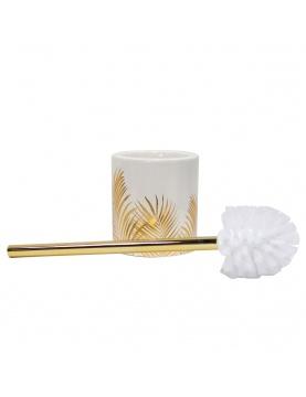 Pot et brosse wc en céramique feuilles dorées