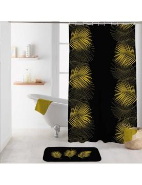 Rideau de douche aux feuilles dorées