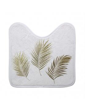 Tapis contour de toilette avec feuilles dorées