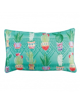 Coussin passepoilé cactus party