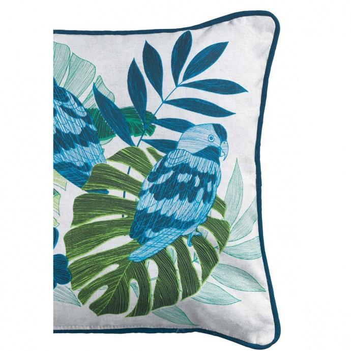 Coussin passepoil imprimé jungle (Blanc Bleu)