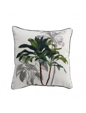 Coussin passepoilé aux palmiers verdoyants