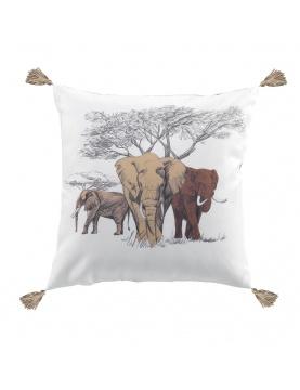 Coussin imprimé éléphants dans la savane
