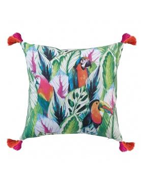 Coussin déhoussable oiseaux tropicaux