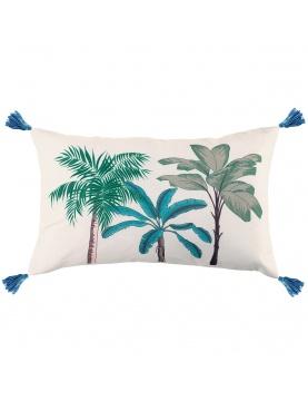 Coussin imprimé palmiers colorés