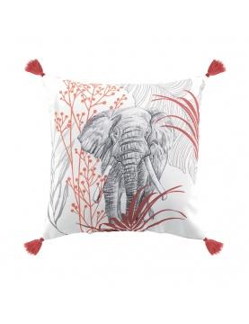 Coussin imprimé éléphant et pompons