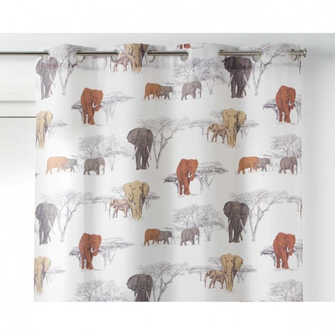 Cortina estampado con elefantes en la sabana (Blanco)