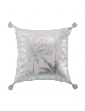 Coussin en coton recyclé impressions métallisées