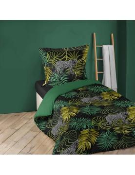 Juego de cama con follajes verdes