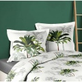 Parure de couette aux palmiers verdoyants (BLANC/VERT)