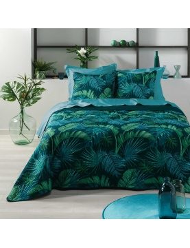 Parure de lit matelassée aux feuillages tropicaux