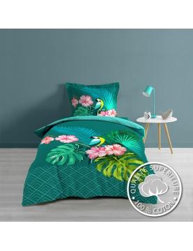 Juego de cama con impresiones tropicales