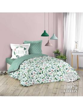 Juego de cama con pequeñas hojas coloridas