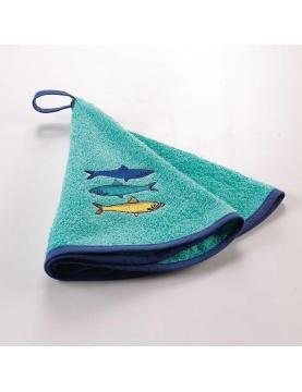 Essuie-main rond brodé esprit bord de mer