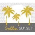 Mantel individual opaco con palmeras doradas