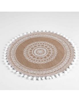 Set de table rond en jute avec pompons