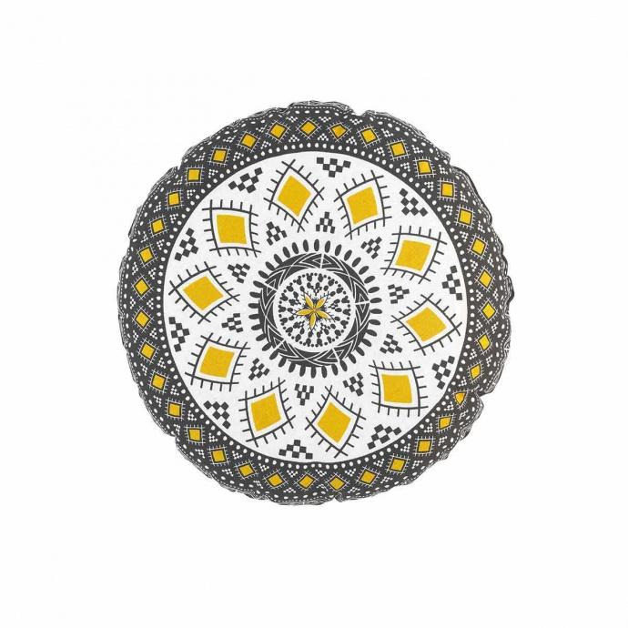 Coussin rond aux impressions ethniques ( Multicolore)