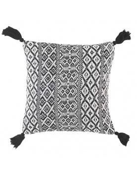 Coussin à motifs géométriques et pompons noirs