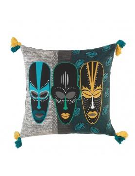 Cojín estampado trío de máscaras africanas