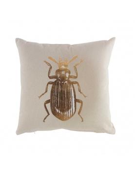 Coussin déhoussable imprimé scarabé or
