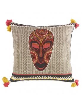 Coussin à masque africain et pompons